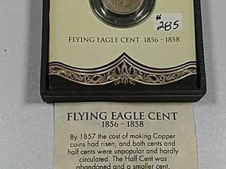 1858 Flying Eagle Cent in display