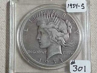 1934 S Peace Dollar VF