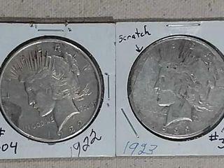 1922   1923 Peace Dollars XF   VF