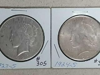 1923 S   1924 S Peace Dollars XF   AU