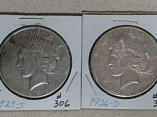 1923 S   1926 S Peace Dollars XF