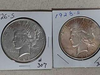 1926 S   1928 S Peace Dollars AU