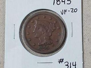 1845 large Cent VF 20