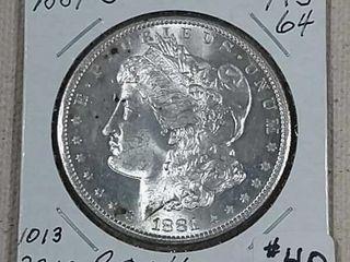 1881 S Morgan Dollar MS 64