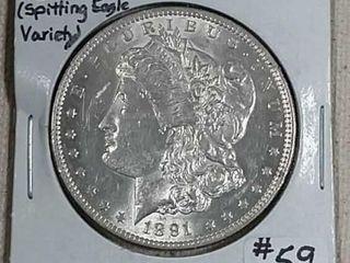 1891 CC  Spitting Eagle  Morgan Dollar MS 62