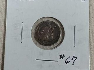 1861 60 Seated liberty Half Dime XF 45