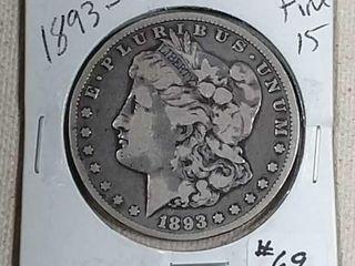1893 CC Morgan Dollar F