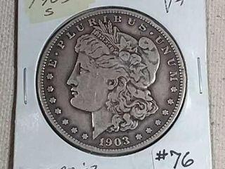 1903 S Morgan Dollar VF Reverse rim ding