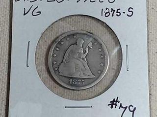 1875 S Twenty Cent VG