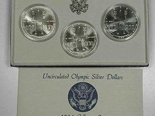1984 P D S Olympic Comm Silver Dollar set Unc