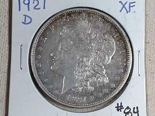 1921 D Morgan Dollar XF