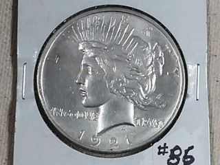 1921 Peace Dollar AU 55
