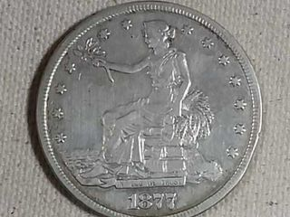 1877 Trade Dollar XF Old cleaning