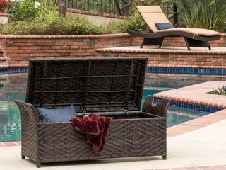 Wing Outdoor Wicker Storage Bench by Christopher Knight Home   Retail 192 99