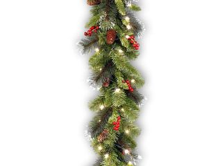 9 foot Pre lit Spruce Garland with lED lights  Cones  Berries  and Glitter   Green