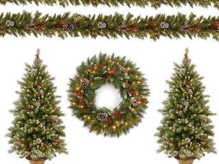 National Tree Company Pre lit Decorative Frosted Berry Entrance Tree  Wreath and Garland Assortment  Retail  202 99