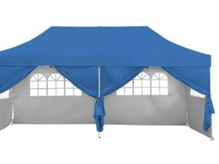 Pop Up Gazebo Canopy Tent with Sidewalls  amp  Wheeled Carry Bag Portable Patio Canopy Shelter Commercial Instant  Retail 322 49