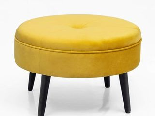 Homebeez Round Tufted Fabric Ottoman Foot Rest Footstool  Sunset Yellow