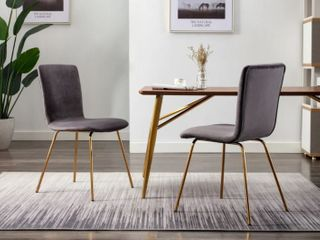Art leon Modern Velvet Fabric Dining Chairs Set of 2 with Golden legs  Retail 171 49