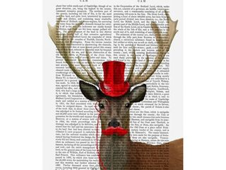 Fab Funky Deer With Red Top Hat And Moustache Canvas Art