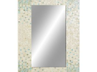 Decmode Modern Rectangular Wood Framed Wall Mirror With Shell Inlay  Reflective 36x24