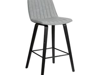 lorenz 26 inch Gray Faux leather Barstool In Black Brushed Wood Finish   Retail 134 99