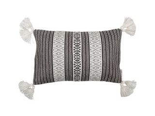 Foreside Home  amp  Garden Black and White Hand Woven 14 x 22 inch Outdoor Decorative Throw Pillow Cover With Insert