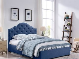 Cordeaux Queen Size Bed Frame Fully Upholstered Button Tufted by Christopher Knight Home  Retail 374 99