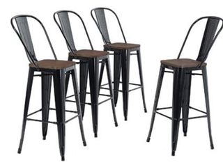 Alpha Home 30 inch High Back Bar Stools with Wood Seat  Retail 241 49