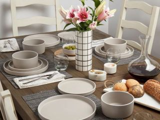 12 Piece  Tabletops Gallery York Dinnerware Set   Feather Grey