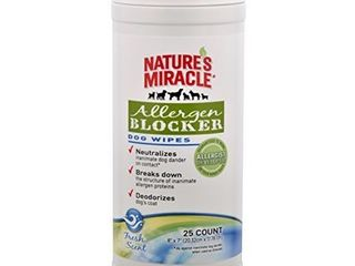 Nature s Miracle Allergen Blocker Dog Wipes  Pack of 25 wipes