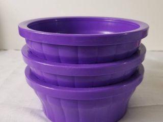 lot of Three Purple Kaytee Food Dishes
