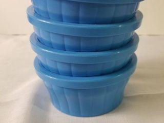lot of Four Blue Medium Sized Kaytee Food Dishes