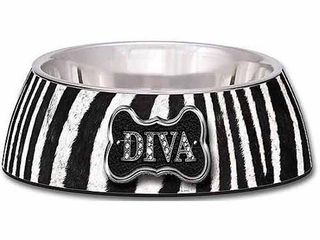 2 Piece loving Pets Milano Medium Diva Dog Bowl  Zebra