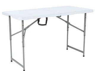 Flash Furniture 24 W x 48 l Height Adjustable Bi Fold Granite White Plastic Folding Table