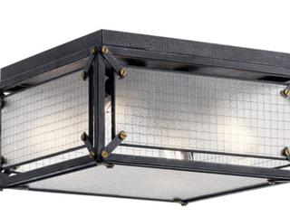 Steel 4 light 16  Wide Flush Mount Square Ceiling Fixture