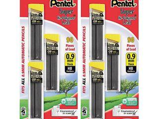 Pentel Super Hi Polymer lead Refills   0 9mm   Black   90ct   2 Pack