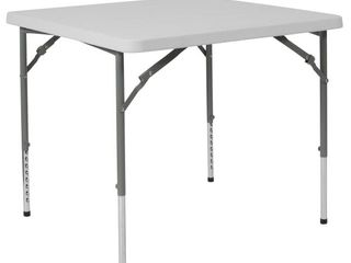 Flash Furniture 34 in Square Height Adjustable Granite White Plastic Folding Table
