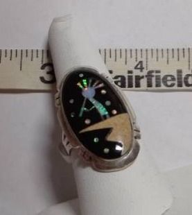 Native American Multi Stone Kokopelli Night Sky Inlay Ring