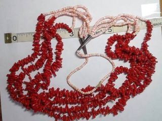 Native American Made Red Branch Coral and Spiny Oyster Bead Necklace with Sterling Silver