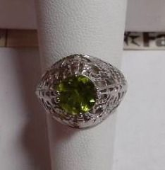 2ct Peridot  Sterling Silver Ring