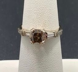 1ct Brown SI2  18k White Gold Ring