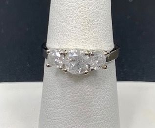 3 Stone Engagement Ring  DIAMOND  14k White Gold