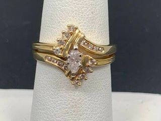 14k Yellow Gold Diamond Ring with Marquis Center Stone