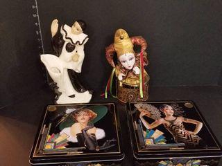 Masquerade figurine  Music box and 2 tins