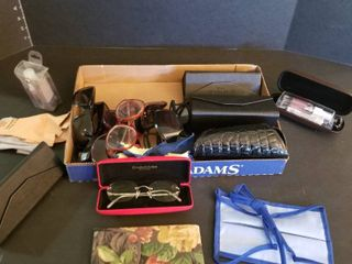 Assorted ladies sunglasses  cases and cleaner
