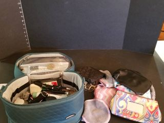 Overnight bag  makeup bags and assorted makeup products