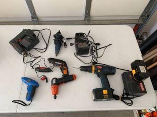 Various drills and chargers