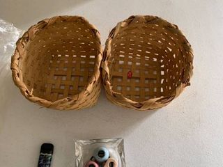 Two baskets and smokers items