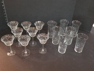 Assorted etched stemware and glasses